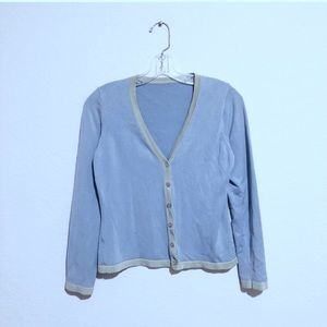 Sweaters - Bluish Gray Cardigan With pea Green Trim.